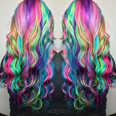 Pin by Ashley Hernandez on Hair in 2019 Exotic Hair Color, Vivid Hair Color, Pretty Hair Color, Beautiful Hair Color, Hair Dye Colors, Rainbow Hair Colors, Rainbow Nails, Funky Hairstyles, Pretty Hairstyles