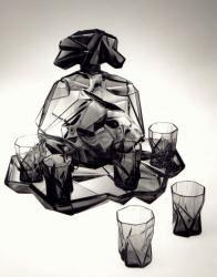 ruba rombic liquor bottle, whiskey glasses, and glass tray. reuben haley.
