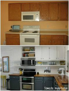 Interesting revamp.  I like the painted doors, how the cabinets were mounted flush with the ceiling and how a shelf was added below the cabinets.  I find the butcher block countertop beautiful as well as the planked wall.