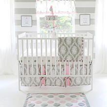 My Baby Sam Olivia Rose 3 Piece Crib Bedding Set - Gray/Pink