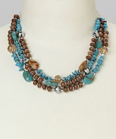 Love this Turquoise & Brown Triple Row Bead Necklace by Majestic on #zulily! #zulilyfinds