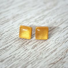 Gold Polymer Clay Stud Earring Variety by LittlestOven on Etsy
