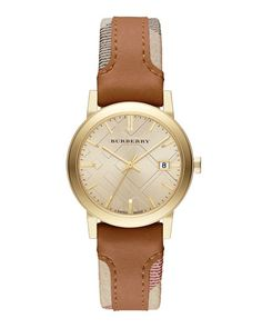 Y31CY Burberry 34mm Golden Watch with Check & Leather Strap