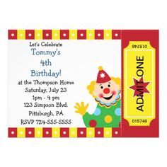 Custom Kids Clown Birthday Party Invitations