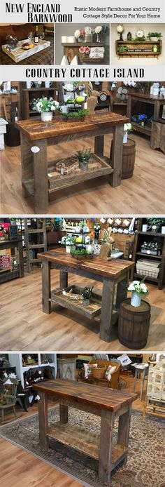 This Farmhouse Kitchen Island is adorable.Very Rustic and Primitive! (Diy Pallet Island) by alyson Cocina Shabby Chic, Shabby Chic Kitchen, Kitchen Decor, Kitchen Cart, Kitchen Tables, Kitchen Design, Kitchen Ideas, Farmhouse Kitchen Island, Farmhouse Table