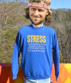 vintage 80s sweatshirt STRESS gut says no mouth says by skippyhaha