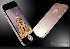 # MOST EXPENSIVE MOBILE. Iphone 4 Diamond Rose - $ 8,000,000 :  So finally its the most expensive mobile of the world having 7.4 karat pink diamonds all over its body which is made up of platinum and gold. Iphone 4 Diamond Rose is designed by the same person who previously designed Iphone 3gs Supreme.