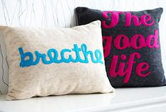 Something to Talk About Pillows -- I want to make knock offs of these awesome pillows! Now I need to learn how to do applique...
