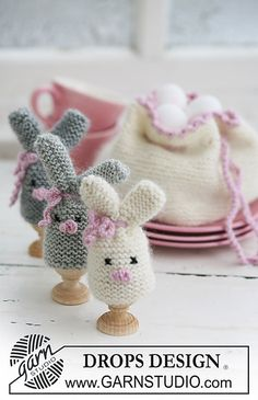 """Ravelry: 0-545 Easter bunny egg warmer and egg basket in """"Merino"""" and """"Kid-Silk"""" pattern by DROPS design"""