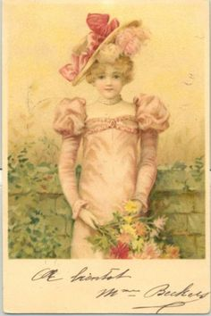 MN055-FILLETTE-en-ROSE-CHAPEAU-a-PLUMES-FEATHER-HAT-GIRL-in-PINK-Belle-LITHO