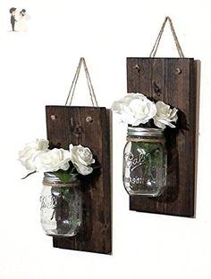 Set of Rustic Mason Jar Wall Sconces - Wedding table decor (*Amazon Partner-Link)