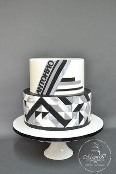 Black and White - Cake by Mina Avramova Black White Cakes, Black And White, Cupcake Cookies, Cupcakes, Sr 25, Geometric Cake, Cakes For Boys, Pretty Cakes, 40th Birthday