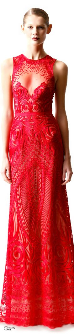 #Naeem Khan Pre-Fall 2014 #Red  #Trend sheer