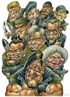 The Expendables. Cartoon Faces, Funny Faces, Cartoon Art, Caricature Artist, Caricature Drawing, Funny Caricatures, Celebrity Caricatures, Famous Cartoons, The Expendables