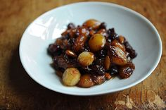 Tuscan Onion Confit:   Suffice it to say my aunt, who hates, hates, hates raisins, ate this.  And enjoyed.  Plus, your kitchen will smell really good while it's cooking, so you can't lose.