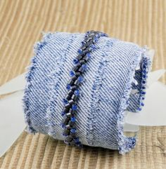 Fiber Art Cuff Bracelet - Denim Jeans Beaded Cuff. 29.00, via Etsy.