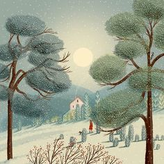 illustration and art by Jane Newland, represented by The Bright Agency. Art And Illustration, Illustrations, Guache, Winter Art, Naive Art, Art Portfolio, Whimsical Art, Landscape Art, Watercolor Art