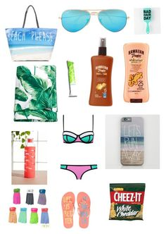 Beach essentials by lhe02 on Polyvore featuring polyvore, fashion, style, Aéropostale, Ray-Ban, Hawaiian Tropic and H&M