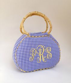 Large Monogrammed Gingham Purse by peppermintbee