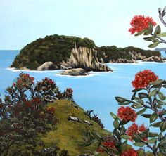 Kirsty Nixon New Zealand contemporary landscape artist, detailed realist paintings, Rangitoto, NZ beach scenes, coastal Great Paintings, Seascape Paintings, Landscape Paintings, Tropical Paintings, Landscapes, Thinking In Pictures, New Zealand Landscape, New Zealand Art, Nz Art