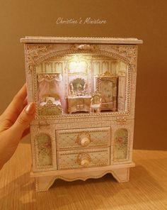 Elegant jewelry box, Box-night light, elegant box for a girl, exclusive gift for women - Dollhouse Miniature RoomBox jewelry box Box-night light Pink Furniture, Doll Furniture, Dollhouse Furniture, Presents For Women, Unique Presents, Miniature Rooms, Miniature Furniture, Miniature Houses, Etsy Shipping