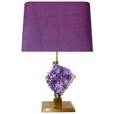 Bronze and Amethyst Lamp Attributed to Willy Daro | From a unique collection of antique and modern table lamps at https://www.1stdibs.com/furniture/lighting/table-lamps/