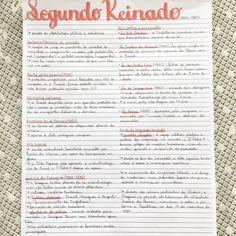 Resumo de Segundo Reinado feito por @tekastudies Studyblr, Mental Map, School Notes, Study Notes, Study Motivation, Student Life, Study Tips, Handwriting, Journal