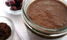 RED VELVET SMOOTHIE   Vegan, gluten free, high in fiber, and bursting with yummy, chocolate cherry flavor:  1 c. hemp milk,  1 tsp. cocoa powder,  1 tsp. brown sugar,  1/2 banana,  10-12 fresh or frozen Bing cherries (pits removed),  2 tsp. ground flax,  2 Tbsp. hemp protein powder. Place all the ingredients in a blender. Blend until smooth. Serve immediately.