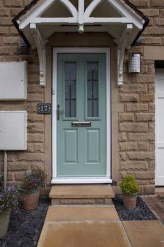 Ludlow composite door in chartwell green with effect glass. Dormer House, Composite Door, Chartwell Green Front Door, Victorian Front Doors, Porch Styles, Victorian Homes Exterior, Green Front Doors, Doors, House Exterior