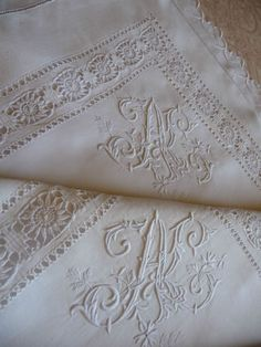 "Pair antique french linen pillow shams hand stitched monogram ""al"""