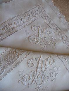 "Pair antique french linen pillow shams hand stitched monogram ""al"""