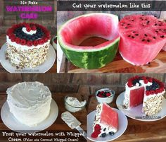 No Bake Watermelon Cake. Even though I'm not a big watermelon fan but this would be nice for parties In the summer