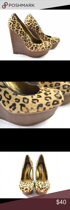 Steven Madden Leopard & Wood Wedges Leopard painted pony hair, wooden wedges by Steven Maddie. Great condition. Steve Madden Shoes Wedges