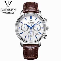 Cadisen Luxury Watch Men 6 Pointers Auto Date Genuine Leather Quartz-Watch 30M Water Resistant Watch Men Reloj Hombre White Dial
