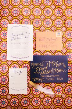 This is such a bright and fun invitation suite. Photo by The Tarnos. #weddinginvitation #calligraphy #invitation