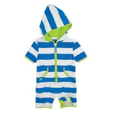 Sun Smarties™ Terry Romper - Blue Stripe from One Step Ahead