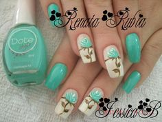 Beautiful teal and floral nails Fingernail Designs, Toe Nail Designs, Summer Toe Nails, Trendy Nail Art, Hot Nails, Fancy Nails, Fabulous Nails, Flower Nails, Creative Nails