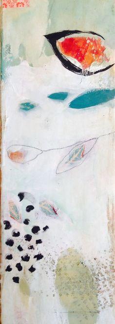 "Brambles Painting Detail. 48"" w. Plaster, acrylic, collage, encaustic. Stephanie Lee."