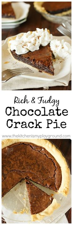 Chocolate Crack Pie amazingly-rich-and-fudgy addictively delicious gooey…