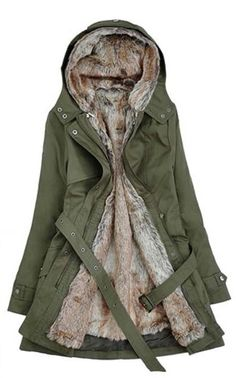 Womens Winter Coats Faux Fur Lining Parka With Fur Hood In Green