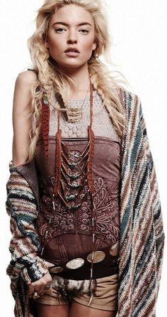 Ethnic tribal inspired boho chic wrap with modern hippie layered necklaces. FOLLOW http://www.pinterest.com/happygolicky/the-best-boho-chic-fashion-bohemian-jewelry-gypsy-/ for the BEST Bohemian fashion trends in clothing & jewelry.