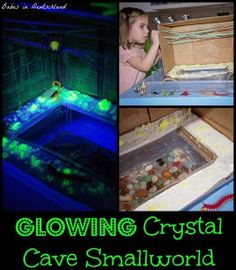 Grow your own glowing crystals, and then make a crystal cave small world with them! A Halloween themed learning activity from Babes in Deuts. Sensory Activities, Craft Activities For Kids, Learning Activities, Kids Learning, Activity Ideas, Sensory Play, Preschool Science, Science For Kids, Earth Science