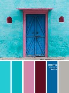Color Inspiration : Turquoise, pink, blue , deep red and grey A beautiful and vibrant color palette of turquoise paired with blue and pink + deep red + grey accents. Orange Color Schemes, Orange Color Palettes, Color Schemes Colour Palettes, Red Colour Palette, Paint Color Schemes, Blue Colour Palette, Color Combos, Turquoise Color Palettes, Turquoise Paint Colors