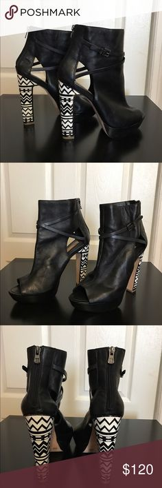 Bcbgmaxazria cut out booties Brand new! Never worn cut out booties with geometric heels! The heels are solid, very comfortable! No Box BCBGMaxAzria Shoes Heeled Boots