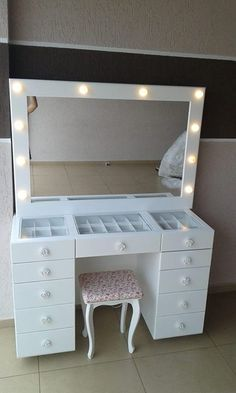 Room decor Makeup rooms Vanity room Bedroom decor Makeup desk Furniture - 55 Perfect Makeup Room Ideas for Makeup Lovers Love it! Not a fan of the stool though DIY Makeup R - Makeup Rooms, Vanity, Beauty Room, Glam Room, Diy Vanity Mirror, Home Decor, Room Inspiration, Make Up Storage, Dream Rooms