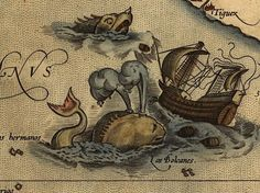 "Abraham Ortelius, Theatrum Orbis Terrarum, 1570  The sea monsters on old maps appear in almost every variety imaginable: Some are armored in scales, others maned like lions or finned like giant fish. Legends of ships sunk by mighty serpents date back to Aristotle, who wrote ""The length of the serpents is something appalling."" The great diversity in the sea serpents' appearance may reflect the fact that monster stories brought home from the sea were probably exaggerated from a number of…"