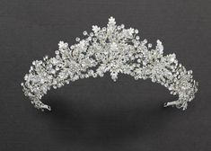 Bridal Tiara of Ivory Frosted Flowers and Jewels - Cassandra Lynne Bridal Tiara, Bridal Headpieces, Bridal Jewelry, Wedding Tiaras, Tiara For Wedding, Wedding Dress, Flower Tiara, Tiaras And Crowns, Wedding Hair Accessories