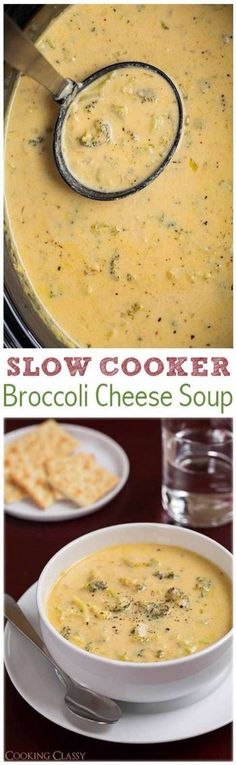 The easiest slow cooker Broccoli Cheese Soup recipe! Everyone loves this slow co… The easiest slow cooker Broccoli Cheese Soup recipe! Everyone loves this slow cooker method! So flavorful, so comforting and perfect for cold winter days. Crock Pot Recipes, Crock Pot Soup, Crock Pot Slow Cooker, Crock Pot Cooking, Slow Cooker Recipes, Cooking Recipes, Healthy Recipes, Crock Pots, Vegetarian Recipes