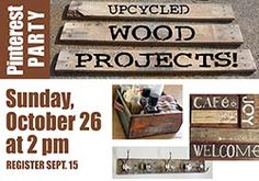 Join us Sunday for our Pinterest Party! Come and upcycle with us and go home with an awesome project!