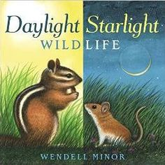 """Daylight Starlight Wildlife by Wendell Minor. """"In amazingly lifelike, luminous paintings, Wendell Minor, one of America's finest wildlife and landscape painters, reveals the variety of animals that surround us when we are awake and when we are sleeping. Nocturnal Animals, Preschool Science, Preschool Prep, Preschool Centers, Preschool Books, Preschool Themes, Preschool Lessons, Teaching Science, Books"""